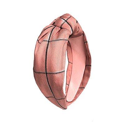 Turbante Xadrez Rosé Queimado