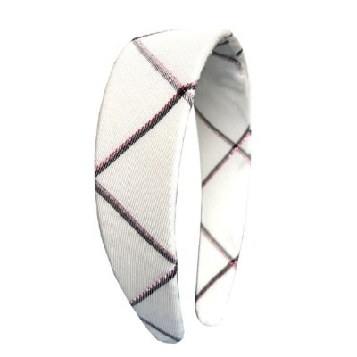 Tiara Flat Xadrez Branca com Brilho