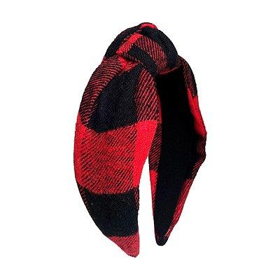 Turbante de Lã Xadrez Vermelho e Preto
