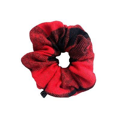 Elástico - Scrunchie  de Lã Xadrez Vermelho e Preto
