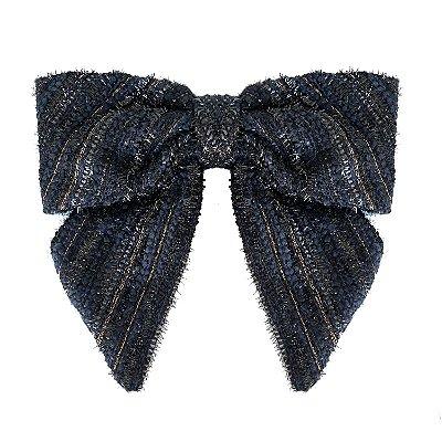 Fivela de Laço V Lã Tweed Azul Listrado