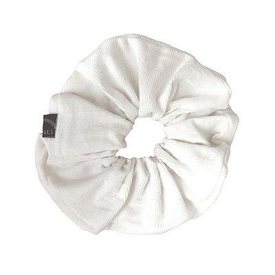Elástico - Scrunchie Veludo Cotelê Branco