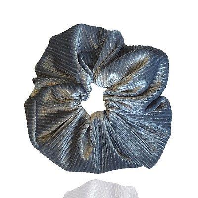 Elástico - Scrunchie Veludo Cotelê Azul Cinderella