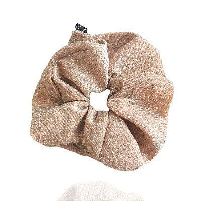 Elástico - Scrunchie de Lamê Rosa Nude
