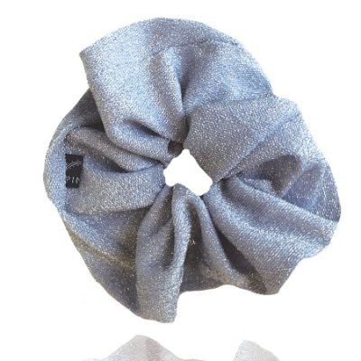 Elástico - Scrunchie de Lamê Azul Cinderela