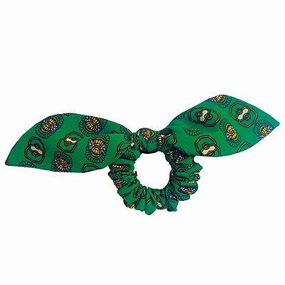 Elástico com Mini Laço Estampado Verde