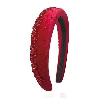Tiara P de Veludo Vermelho Bordada Degradê Vermelho