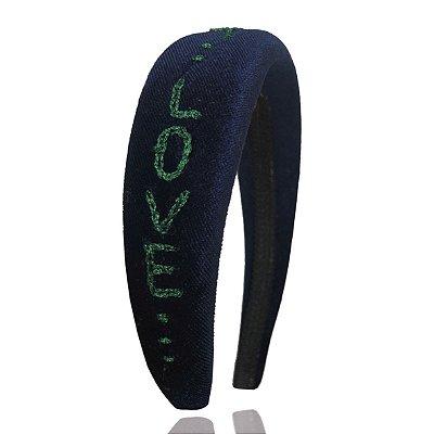 Tiara de Veludo Azul Bordada Love