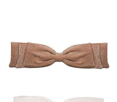 Fivela de Laço Camadas Lurex Rosa Claro