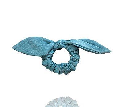Elástico com Mini Laço Crepe Azul Céu