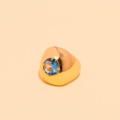 Anel de Dedinho Cristal Topázio Azul