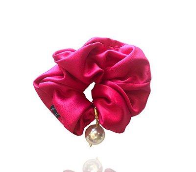 Elástico - Scrunchie Maxi Pérola Cetim Pink