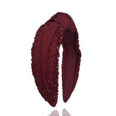 Turbante de Linho Vinho com Bordado
