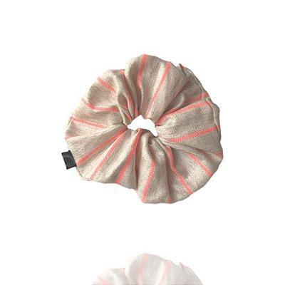 Scrunchie - Elástico de Linho Listrado Neon