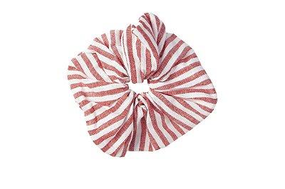 Elástico - Scrunchie de Linho Listrado vermelho e Branco