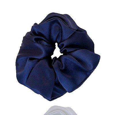 Elástico- Scrunchie de Cetim Azul Marinho