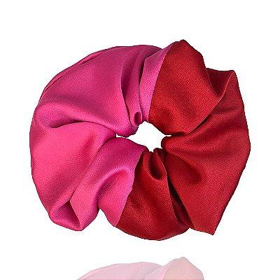 Elástico- Scrunchie Duas Cores Pink + Vermelho