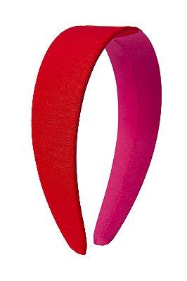 Tiara Flat Duas Cores Pink e Vermelho