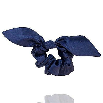 Elástico com Mini Laço de Cetim Azul Marinho