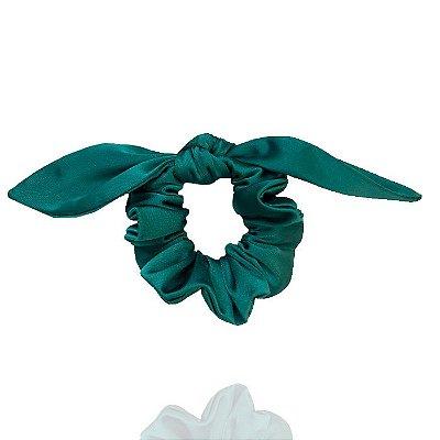 Elástico com Mini Laço de Cetim Verde Esmeralda
