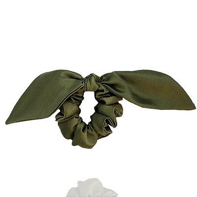 Elástico com Mini Laço de Cetim Verde Oliva