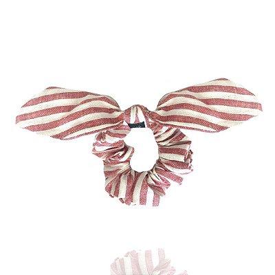 Elástico com Mini Laço Listrado Vermelho e Branco