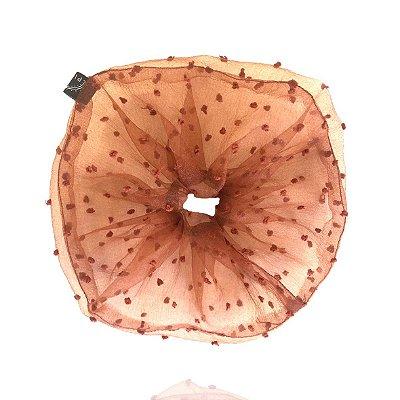 Elástico - Scrunchie de Tule de Poá Marrom