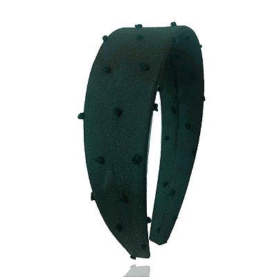 Tiara Flat de Tule de Poá Verde Escuro