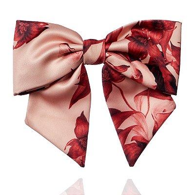 Fivela de Laço V Estampado Flores Rosé e Vinho