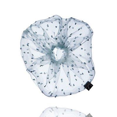 Elástico - Scrunchie de Tule de Poá Azul Claro