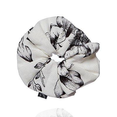 Elástico - Scrunchie de Florido Preto e Branco