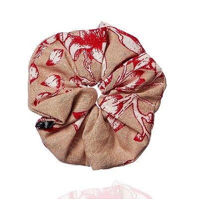 Elástico - Scrunchie de Florido Bege e Vermelho