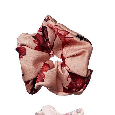 Elástico - Scrunchie de Florido Rosé e Vermelho
