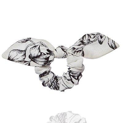 Elástico com Mini Laço Branco com Flores Pretas