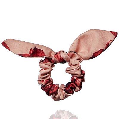 Elástico com Mini Laço Rosé Flores Vinho
