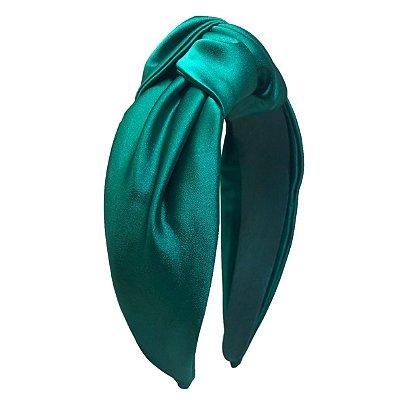 Turbante de Cetim Verde Esmeralda