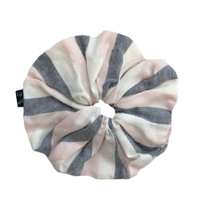 Elástico - Scrunchie Listra Rosa, Branco e Cinza