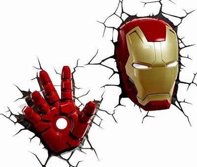 Kit Luminárias cabeça e mão Homem De Ferro 3D