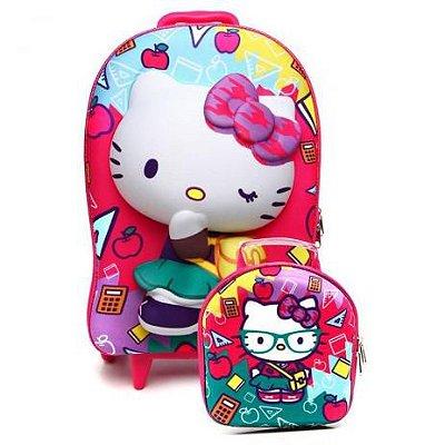 Mochila Hello Kitty  3d Com Rodinhas e Lancheira