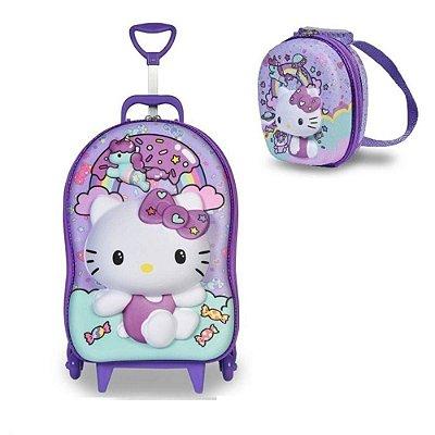 Mochila Hello Kitty Rainbow 3d Rodinhas + Lancheira Maxtoys