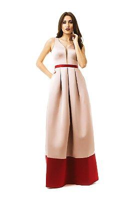 Vestido em cetim estruturado bicolor