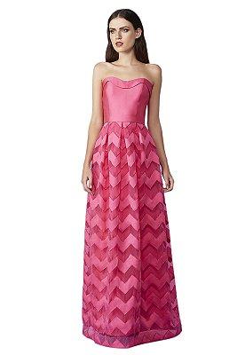 Vestido saia godê em tule com faixas em zibeline
