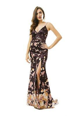 Vestido em cetim estampa floral alças de correntes