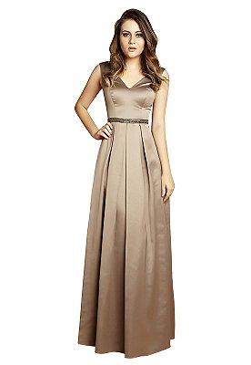 Vestido em cetim cinto bordado