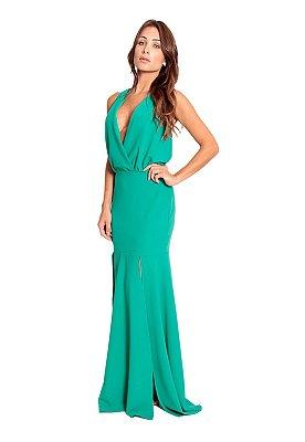 Vestido longo em crepe top blusado transpassado.