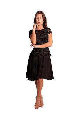 Vestido curto em guipure geométrico
