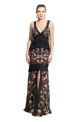 Vestido Longo em Crepe Estampa Floral