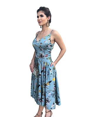 Vestido Midi Estampado em Cetim