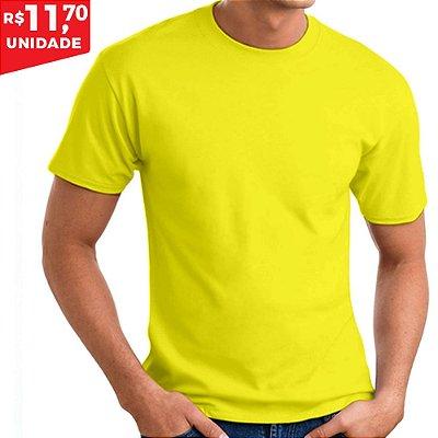 KIT 05 PEÇAS - Camiseta 100% algodão penteado amarelo canário