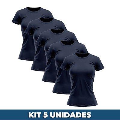 KIT 05 PEÇAS - Baby look 100% algodão penteado azul marinho